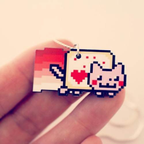 Valentine Nyan Cat Necklace! #nyan #geek #pixels http://www.shanalogic.com/valentine-nyan-cat-necklace.html