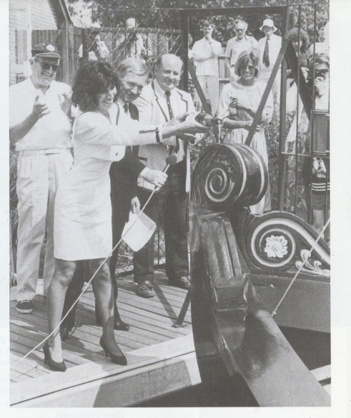 "Scanned from the book ""The Quiet One A Life Of George Harrison"" by Alan Clayson, is this photo of Olivia Harrison launching the newly restored University Barge at Sonning Eye Marina near Henley on Thames in 1988."