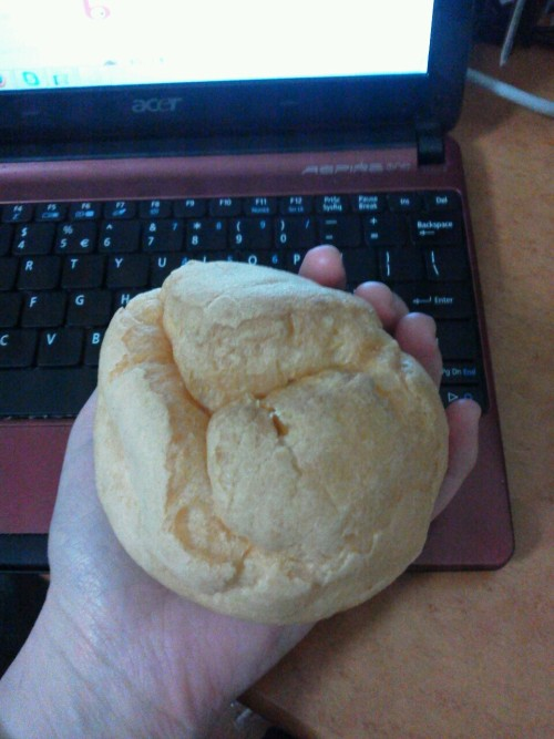 zukarevue:  I love Japan's monsterously large cream puffs  Is that the Montieur or Yamizaki brand cream puff? How I miss those!