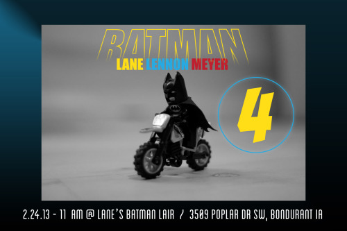 Birthday Invite I designed for a Batman-loving three year old.