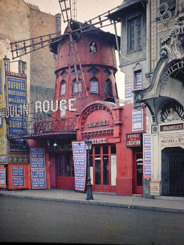 vintagemarlene:  color photo of the moulin rouge, paris, 1914 (www.vintag.es)