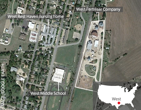 A map of West, Texas, showing the site of the blast. Photograph: /Guardian
