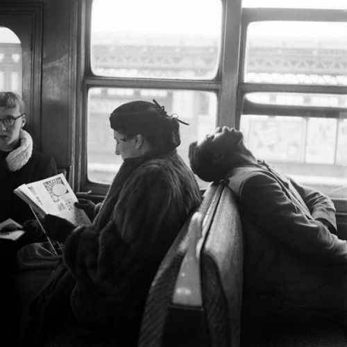 steroge:  Passengers Sleeping & Reading on NYC Subway, 1949 by Harold Feinstein