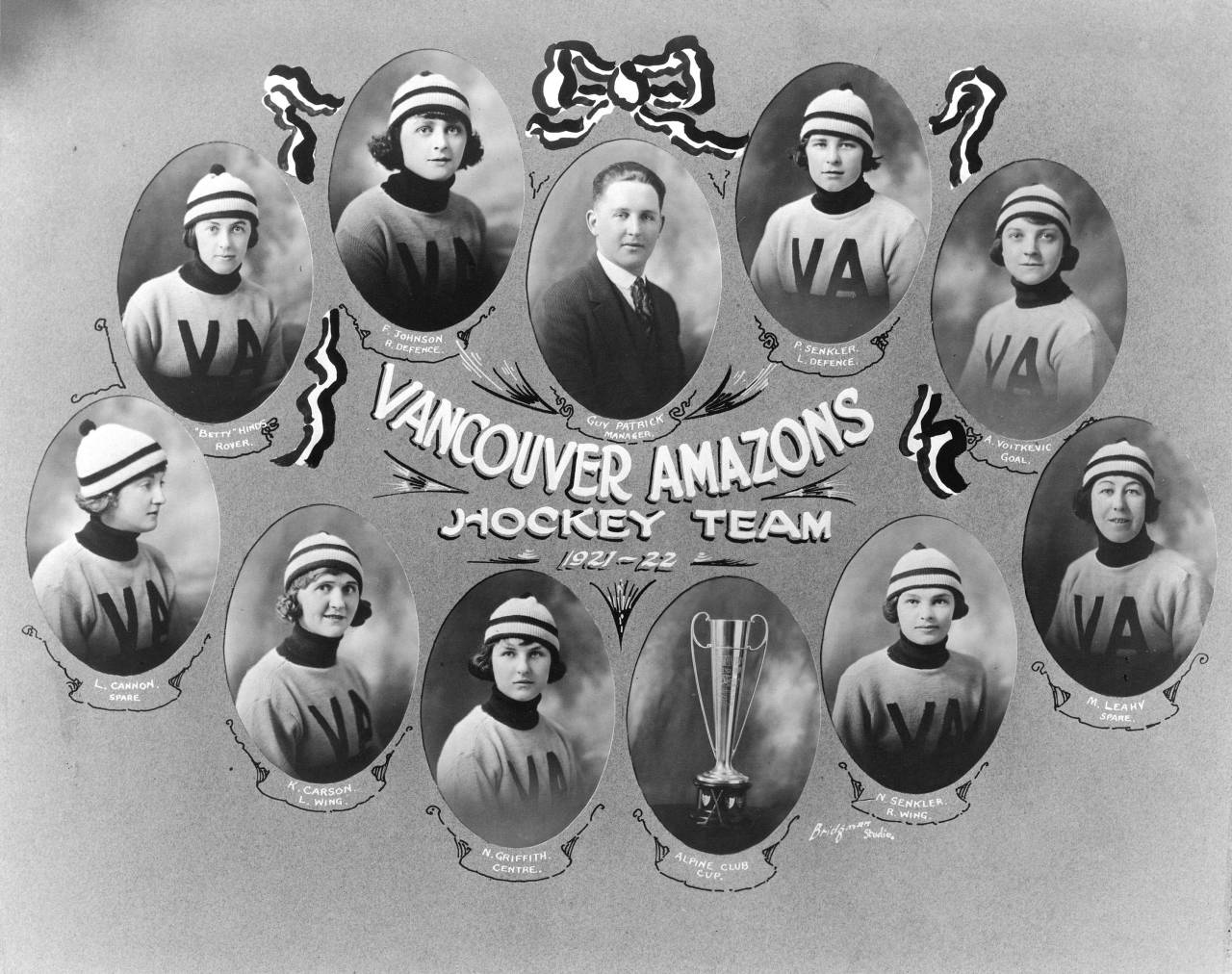 Vancouver Amazons, 1922 The Vancouver Amazons were based out of the Denman Arena in the West End, where women's hockey was especially popular because a lot of single working women lived in that neighbourhood. After beating the Calgary Regents in Banff in 1922, the Amazons won the Alpine Cup, making them the women's hockey champions of Western Canada. Source: City of Vancouver Archives #Sp P108