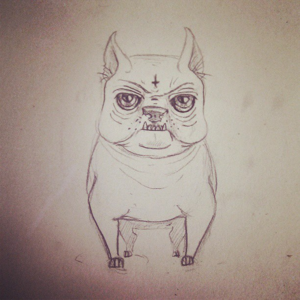 #dog #small #mad #angry #guard #drawn #drawing