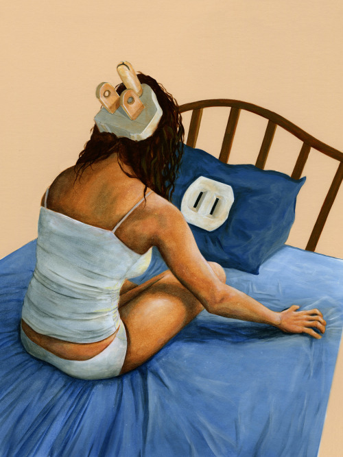 Insomnia   She's not going to get very far with that grounded plug and a ungrounded outlet… No wonder she can't sleep