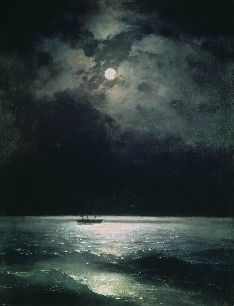 lovelyydarkanddeep:  The Black Sea at Night - Ivan Aivazovsky, 1879  Je ne sais pas pourquoi mais j'ai soudainement pensé au Rivage des Syrtes