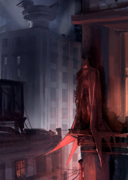 heyoscarwilde:  The night shift. Batman illustrated by David Hong  :: via davidsketch.blogspot.ca