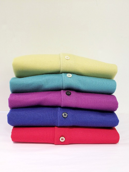 khakiscarmel:  Summer polo sweaters When a dress shirt is too formal and you're looking for a slight bit of warmth that breathes well, reach for a polo sweater. These polo sweaters from Gran Sasso are made from a lightweight Tasmanian virgin wool in vibrant colors for summer. They wear easily by themselves with chinos or trousers, but also under a sport coat or suit instead of a dress shirt.