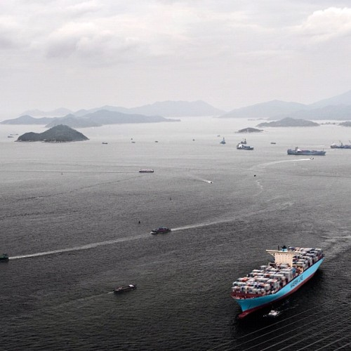 Edith Maersk in Hong Kong. The long journey back to Europe has begun. #maersk #container #vessel #hongkong