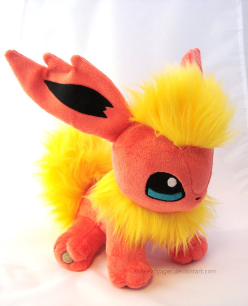 Flareon! Made from minky and faux fur with machine embroidered eyes.
