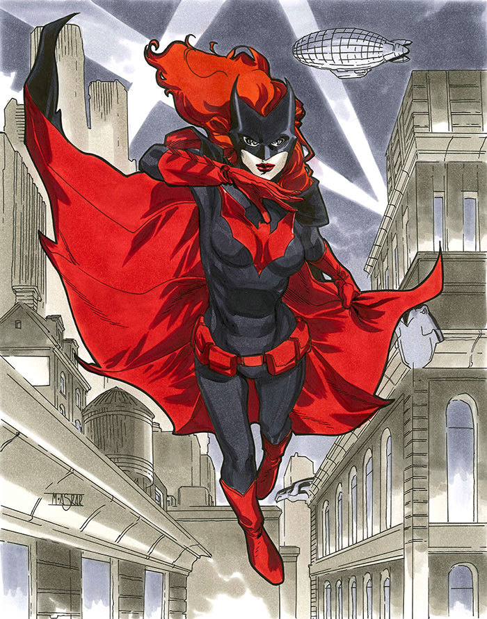mahmudasrar:  Batwoman - NYCC 2012 Pre-Show CommissionThis piece was done more elaborate than my usual pre-show commissions on request and for a higher rate. It turned out to be one of my favourite pieces. Unfortunately during the time my scanner died on me so I had to have these scanned outside. Hence, the colours on most of these NYCC commissions are a bit off.