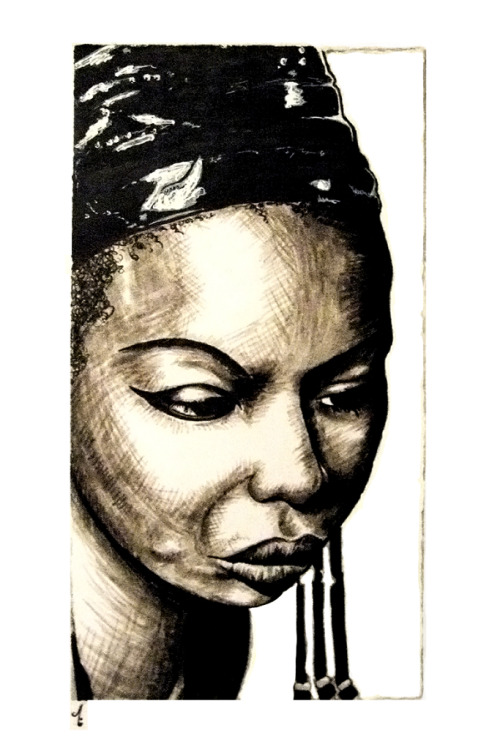 Portrait of Nina Simone This was a lot of fun to do. A good way to test-drive my new (at the time) Faber-Castell grey markers. For the extra dark areas I used the trusty black gel ink pen :)