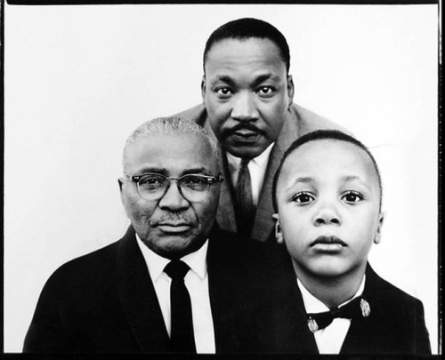 Dr. Martin Luther King Jr. with his father and son in Atlanta, GeorgiaMarch 22, 1963.Photographed by Richard Avedon