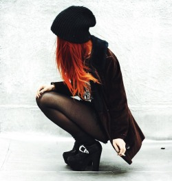 hair cute fashion smoke beanie Grunge red hair cute girl Alternative alternative girl hairstyle cigarette scene dip dye orange hair le happy scene girl scene hair ombre hair grunge style grunge girl alternative style cute hairstyle