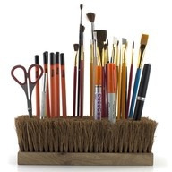 Art Desk Organizer Idea!  Using an old push broom. Smart idea!