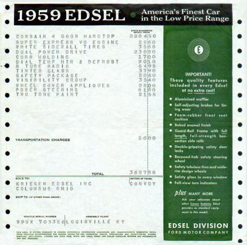 snowsgreen:  1959 Edsel Price Sticker