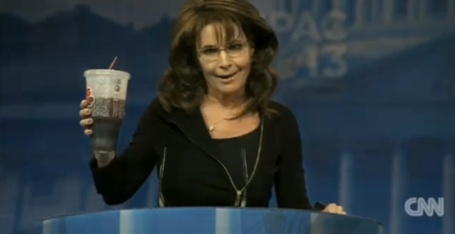 kohenari:   Palin drinking a Big Gulp on stage at CPAC  (via @elisefoley)  In related news, refined sugar rots your brain.