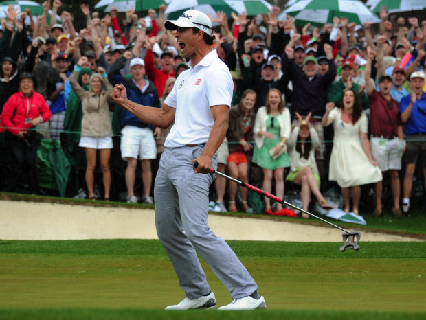 nationalpostsports:  Adam Scott becomes first Australian to win Masters with playoff triumph over Angel CabreraThe Masters went to a sudden-death playoff for the second year in a row when Scott and Cabrera made matching birdies on the 72nd hole Sunday.They both made par on the first extra hole, No. 18, before Scott rolled in a 12-footer for birdie to win it. (Jim Watson/AFP/Getty Images)
