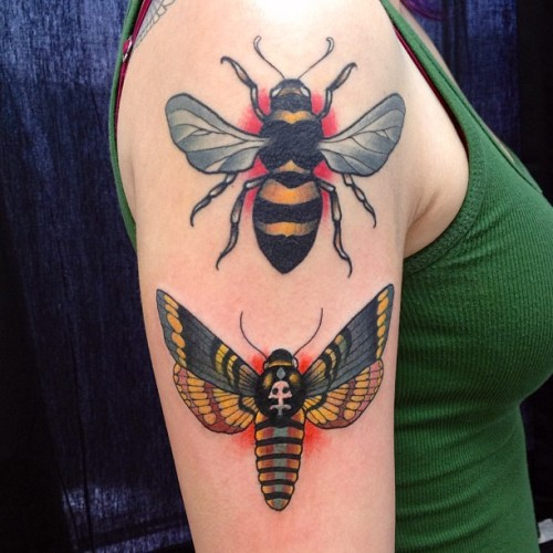 I get to add to Hannah's arm  the other day.  The bee on top is healed.