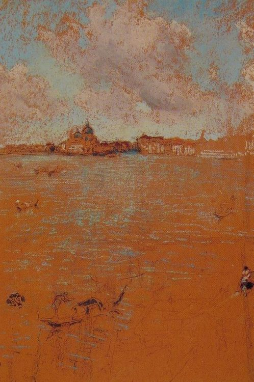lyghtmylife:  James Abbott McNeill Whistler [American Tonalist Painter and Printmaker, 1834-1903] Venetian Scene, ca. 1880,  pastel on brown paper