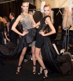 karlie & magdalena backstage at michael kors fall 2013