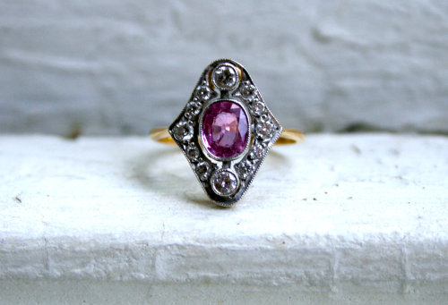 allaboutrings:  Beautiful Vintage 18k Yellow Gold/Platinum Pink Sapphire and Diamond Ring