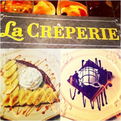 Banana Hazelnut au Chocolat & Double Chocolate Fudge. Yummy crepes for me! Heehee👌👍✌ (at Eastwood City)