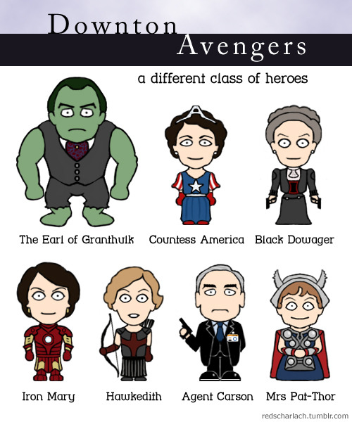 na-ebudae:  redscharlach:  Downton Avengers! Because Iron Man 3 includes a Downton Abbey reference, so obviously I had to create a gratuitous costumed crossover…  Mrs Pat-Thor… MRS PAT-THOR.
