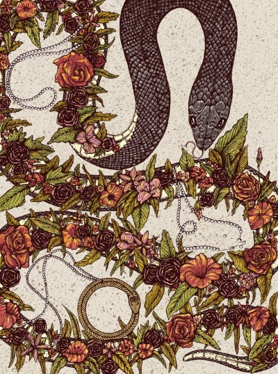 ginopambianchi:  The snake and the flower. One for luck. One for power.  One of four illustrations completed as a part of my senior show at Memphis College of Art. Prints soon to come.