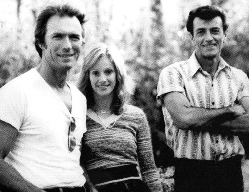 Clint Eastwood, Sondra Locke, and painter Frank Frazetta, who did the one-sheet art for the Eastwood/Locke film The Gauntlet (1977). Is it just me, or do Clint and Frank look enough alike that they could have been brothers?