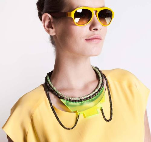 "Get yourself in a good mood with a bit of citron color blocking: yellow sunnies, a neon necklace, and a buttercup T make for the mellowest of moods. Featuring Histoire de Voir's ""Yellow Aviators"" and Fiona Paxton's ""Coco Lime Shinko"" Necklace"