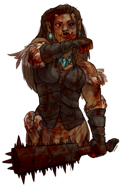 roachpatrol:  luzerna:  cliomancer's half-orc character tecuani!! this is my favourite commission i have done so far, really neat character, really cool design. i'll post everyone's—if they want me to—when i finish them all but i'm waiting on some commissioners atm so i figured i'd remind you that i can beat up your character too for the low low price of 20$ (or just draw them, like, in general) and there are a few spots left since somebody had to drop  Oooh, I really love this.