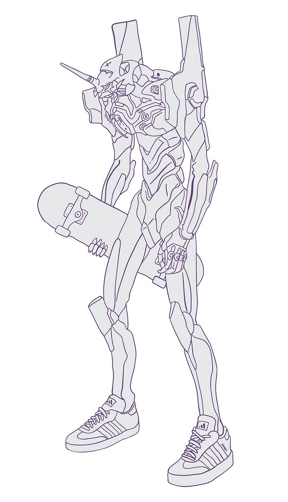 chineseknees:  just drew unit 01 w a skateboard and wearing some sambas. potentially part of another thing im currently working on. idk