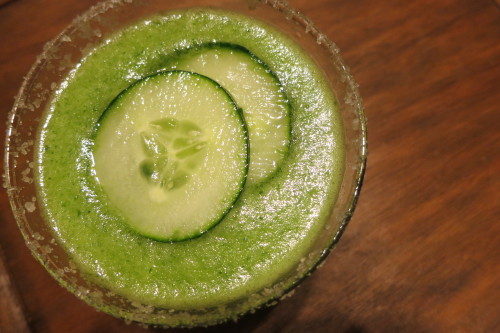 First run: cucumber margarita with smoked sea salt rim