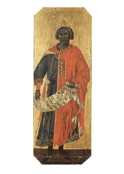King Solomon of the Bible  By: Duccio di Buoninsegna Circa: 1255 – 1319Holding psalm 72 Metropolitan Opera Museum of the Cathedral in Italy.