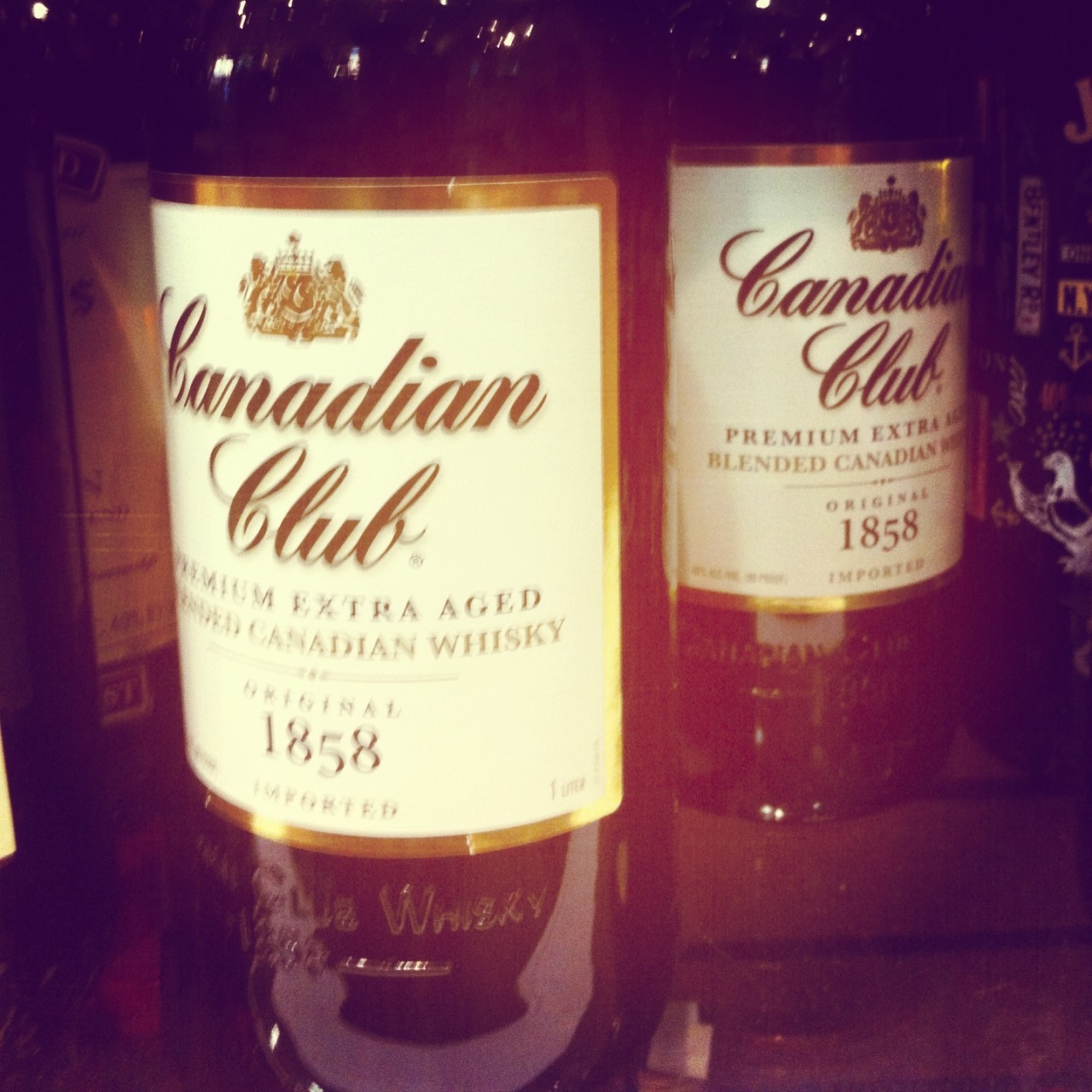Canadian Club. The kind they drink in Mad Men.