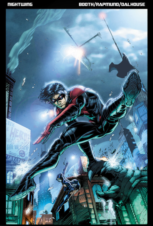 "thedarkknightnews:  Nightwing: Going to Chicago   Kyle Higgins talks about Nightwing in Issue #18 after the recentrequiem issue for the death of Damian Wayne. Higgins teased the upcoming transition from Gotham City to Chicago and  reveals that Tony Zucco is still alive. Thus pushes Dick Grayson to go to Chicago.  ""The twist at the end of issue #18 was Tony Zucco is still alive. The man who killed Dick Grayson's parents is alive in Chicago. He's got two pennies and a Nightwing suit to his name. Nightwing only planned to stay in Chicago to deal with Zucco, but I plan to build a mythology along with artist Brett Booth of masks in Chicago and the mystery of what killed them all. Two of the heroes were Ether and Ghost Walker, the Batman and Robin of Chicago. They're dead as well. There's this whole mythology that Brett Booth and I are building of Nightwing's Chicago, which once had masked crime fighters, who are now all dead."" -Higgins   To see more of the Wonder Con'13 at DC The New 52 Panel CLICK HERE Visit Dark Knight News HERE"