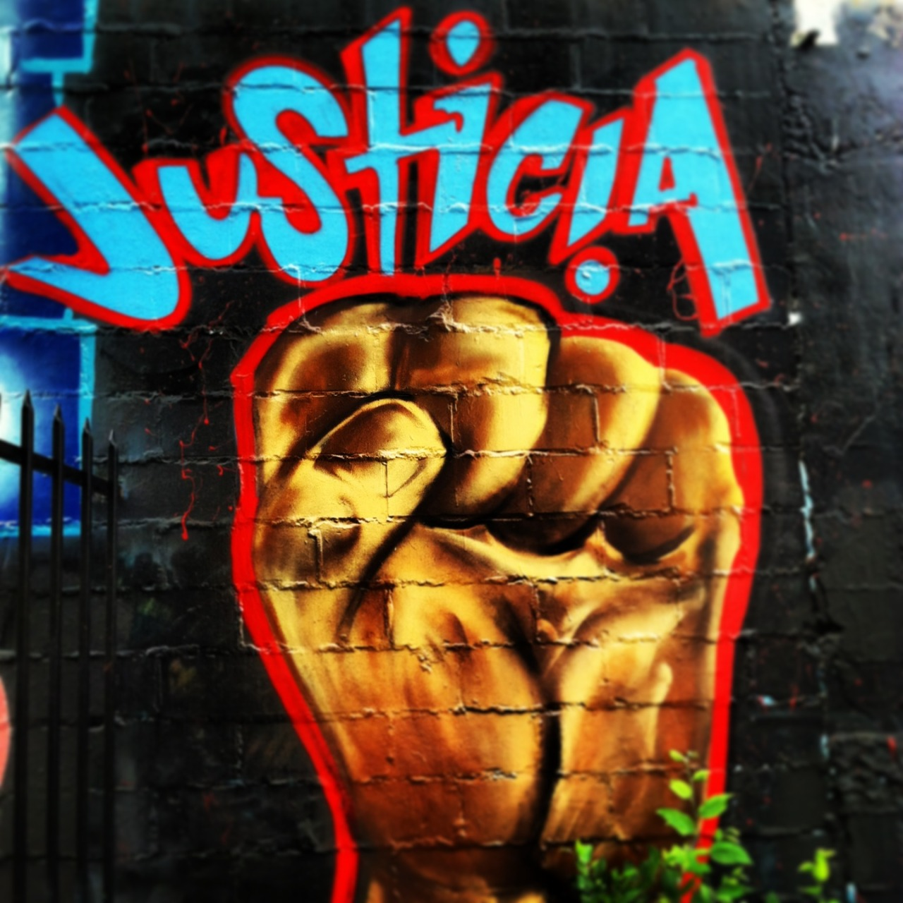 """justicia."" mural at the southwest workers union. san anto, tejas."