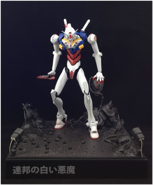 "sunbakerey:  gunjap:  [When Evangelion Meets Gundam] Diorama: ""White Devil of E.F.S.F"" Full Photoreview Wallpaper Size Images, WIP Too. Enjoy!http://www.gunjap.net/site/?p=125408  i'm disappointed in myself for not thinking of this"