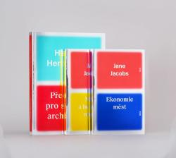 "MOX NOX series of books about architecture and urbanism for publishing house Mox Nox - Cover system is improved by color surfaces distinguished by name of author and book title on Mirror Board Silver paper. Question: Do we have to depict shapes with sharp edges? All design for Mox Nox is typeset with family of Suisse BP. Font description says it redefines not only a tradition – our tradition – but the very sense of tradition itself. #01 author: Herman Hertzberger: Biggger bok with 760 pictures. Reconstruction of Reinout Meltzer's original design. #02 + #03 author: Jane Jacobs: Simple design provides good reading and orientation due to ""laser"" system. ""Lasers"" appears on every introductory page of each chapter ando goes down, in the same way as you are during reading approaching the end of the book. 2012 designed in The Rodina"