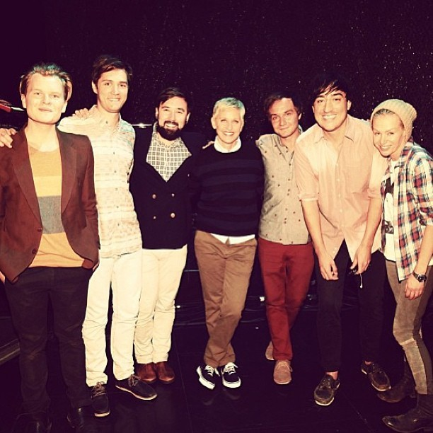 Grizzly Bear with Ellen and Portia following their taping for The Ellen Show. via @theellenshow We'll let you know when the episode airs!