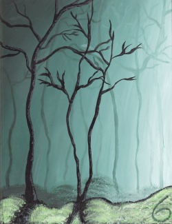 Sketchbook #6 cover. Inspired by Tim Gagnon's misty forest paintings.