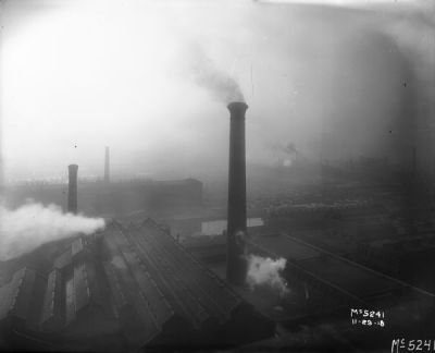 Drizzly, foggy (smoggy) day at Western and Blue Island, 1918, Chicago.