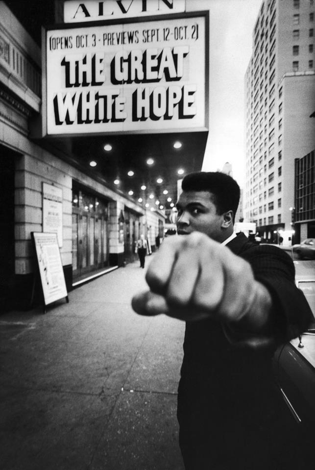 secretcinema1:  Muhammad Ali outside the Alvin Theater, New York, 1968, Bob Gomel