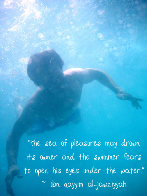 "Ibn Qayyim al-Jawziyyah said: ""The sea of pleasures may drown its owner and the swimmer fears to open his eyes under the water."" — [al-Fawa'id (English Translation), pg. 66]"