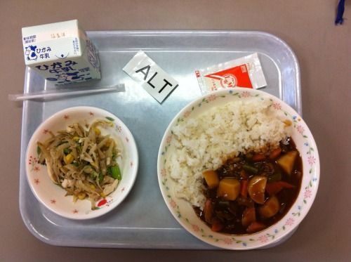 Today's school lunch: hayashi rice, and blanched burdock, chicken, and asparagus with mayo.
