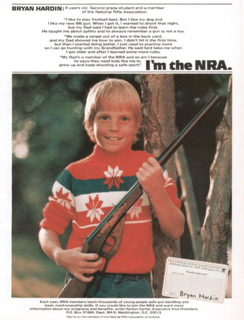 motherjones:  The evolution of the NRA, in 12 ads.  Or you could say the road to crazy
