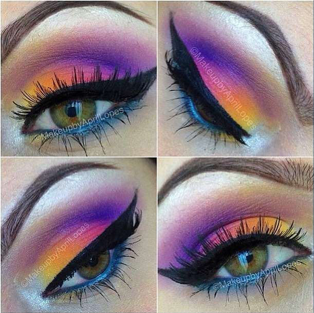 sugarpillcosmetics:  Like a serene sunset! Pipsqueeak used Sugarpill, BFTE and MakeupForever eyeshadows to create this gorgeous look. Looks so amazing with her eye color! http://instagram.com/p/W4myJnxRAz/