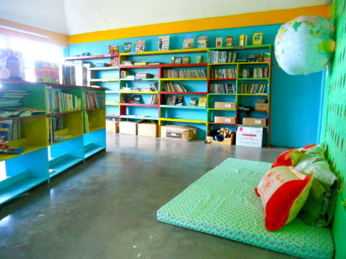 A Peace Corps Volunteer helped create this beautiful reading area for a library in her Dominican Republic community